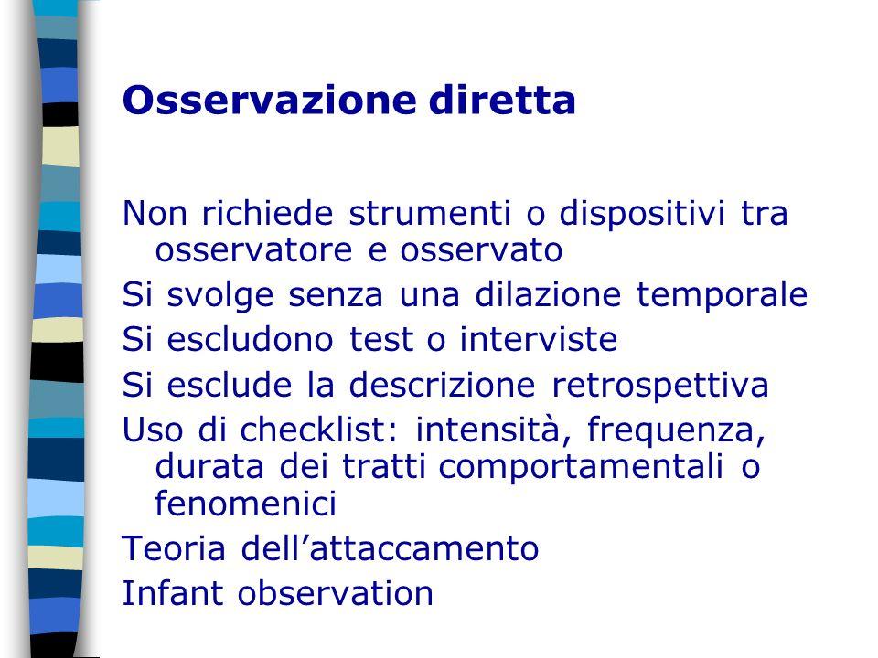Osservazione diretta Non richiede strumenti o dispositivi tra osservatore e osservato. Si svolge senza una dilazione temporale.
