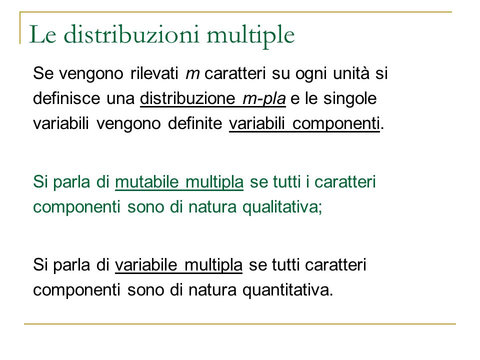 Le distribuzioni multiple