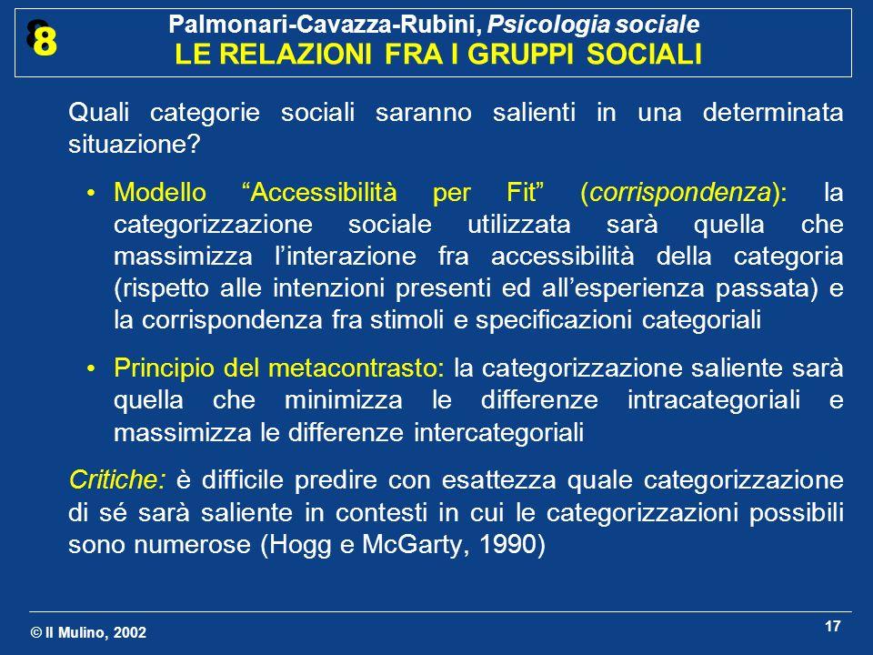 Quali categorie sociali saranno salienti in una determinata situazione