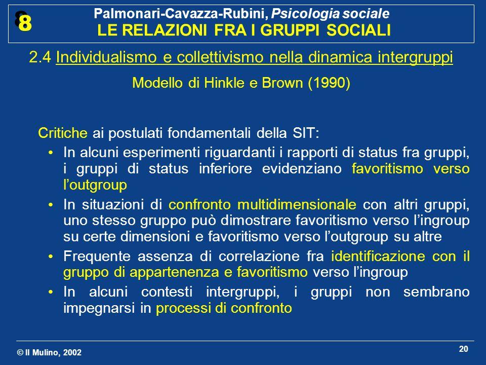 2.4 Individualismo e collettivismo nella dinamica intergruppi