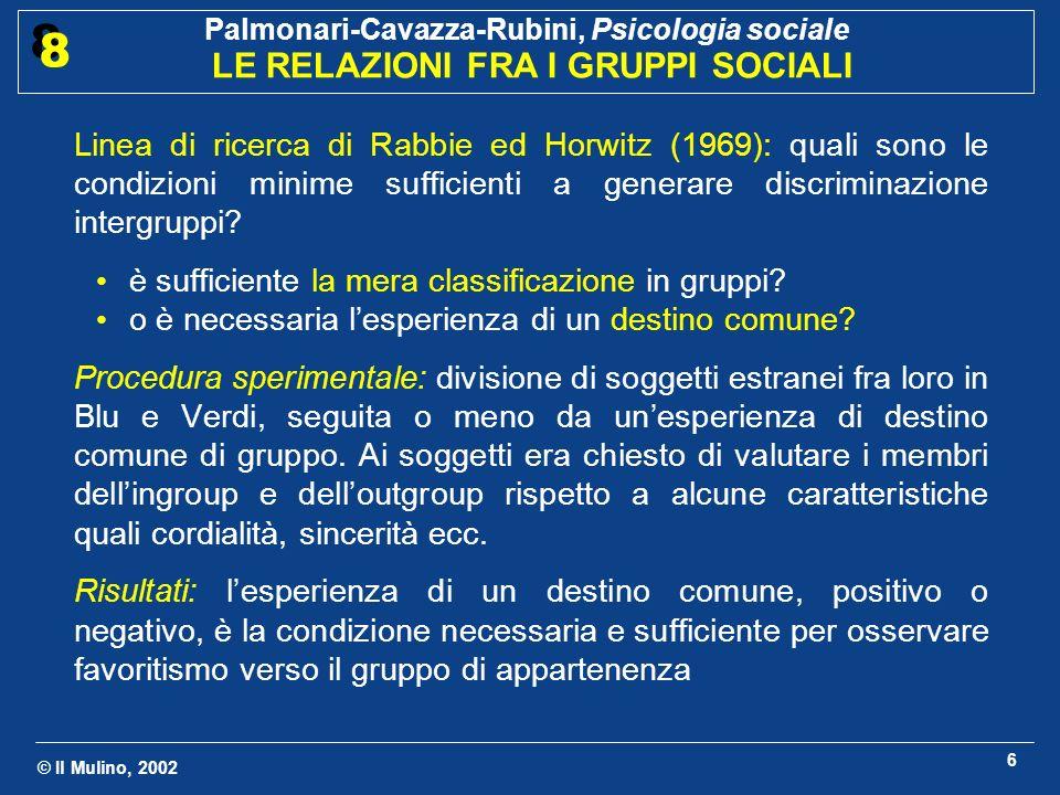 Linea di ricerca di Rabbie ed Horwitz (1969): quali sono le condizioni minime sufficienti a generare discriminazione intergruppi