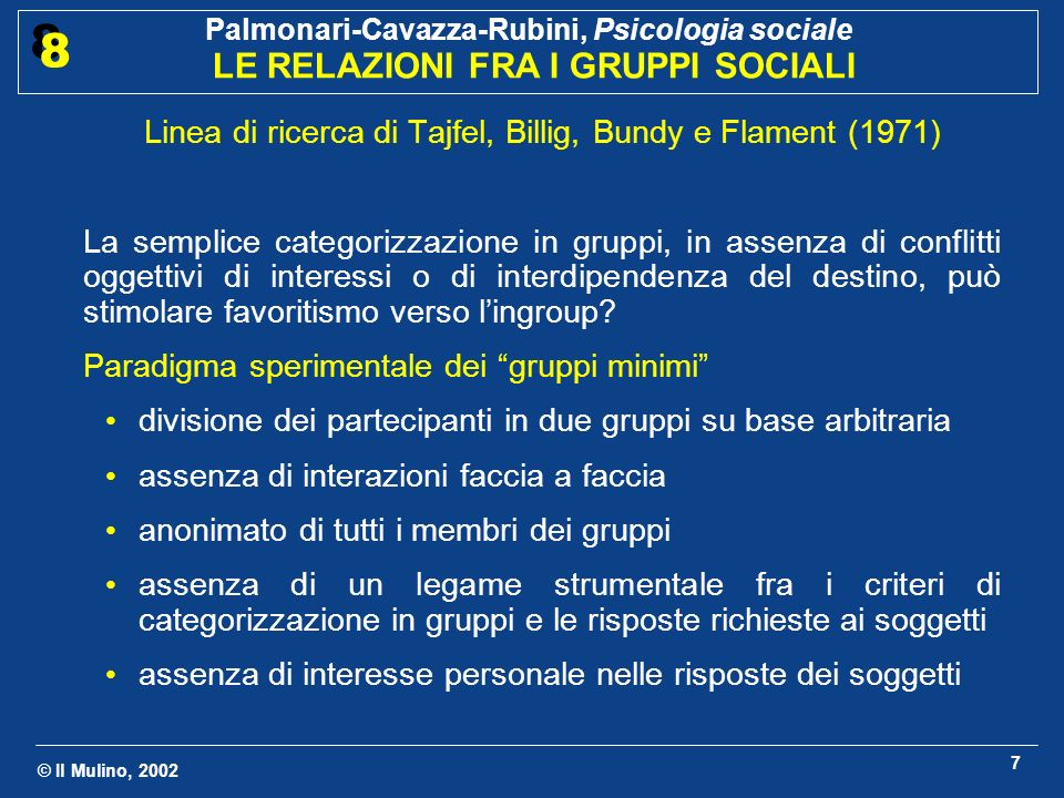 Linea di ricerca di Tajfel, Billig, Bundy e Flament (1971)