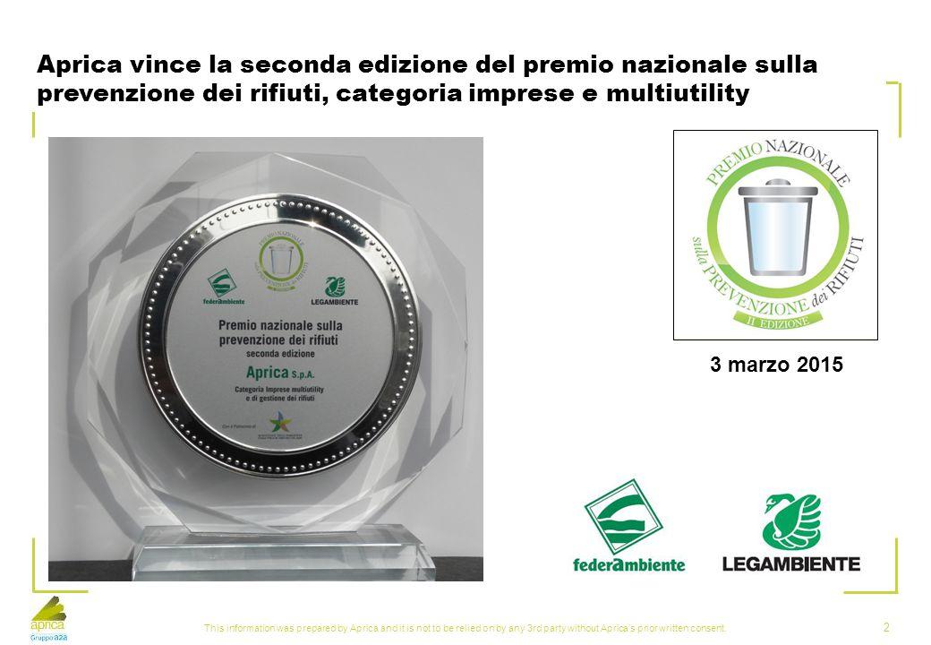 Aprica vince la seconda edizione del premio nazionale sulla prevenzione dei rifiuti, categoria imprese e multiutility