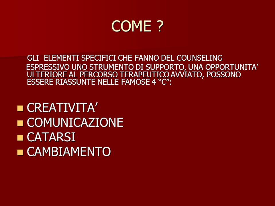 COME CREATIVITA' COMUNICAZIONE CATARSI CAMBIAMENTO