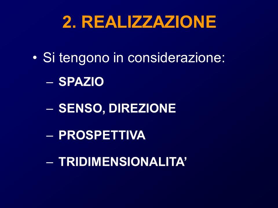 2. REALIZZAZIONE Si tengono in considerazione: SPAZIO SENSO, DIREZIONE