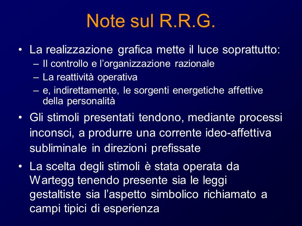 Note sul R.R.G. La realizzazione grafica mette il luce soprattutto: