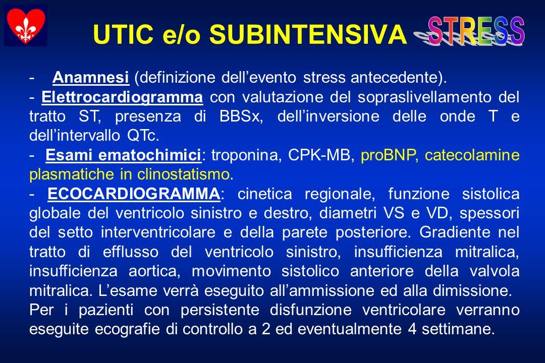 UTIC e/o SUBINTENSIVA - Anamnesi (definizione dell'evento stress antecedente).