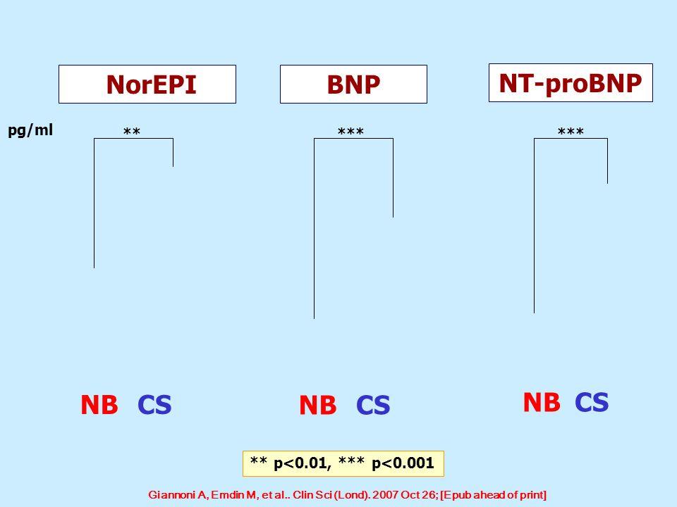 NB CS NB CS NB CS NorEPI BNP NT-proBNP pg/ml ** *** ***