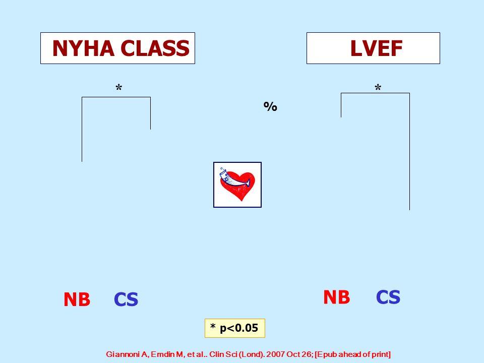 NYHA CLASS LVEF NB CS NB CS * * % * p<0.05