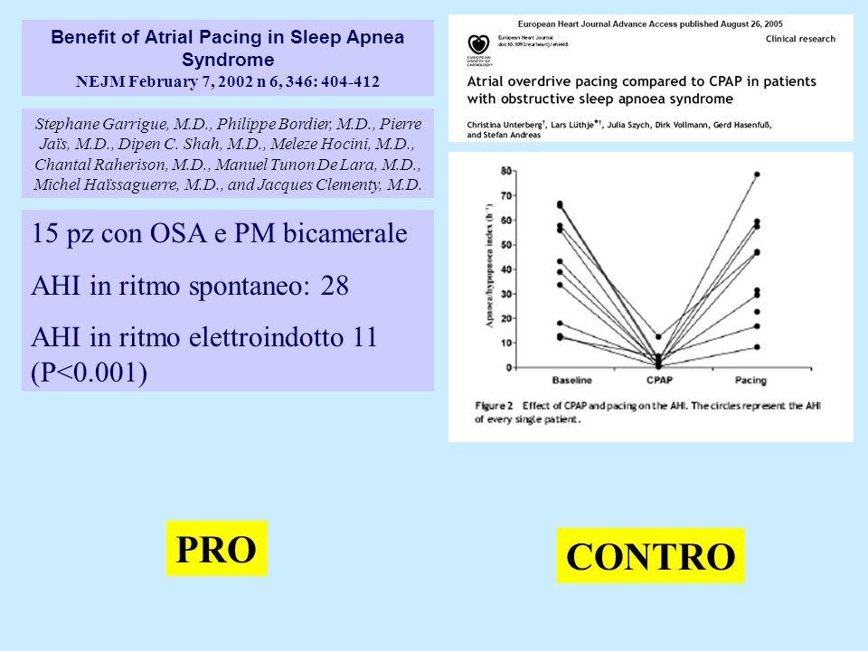 PRO CONTRO 15 pz con OSA e PM bicamerale AHI in ritmo spontaneo: 28