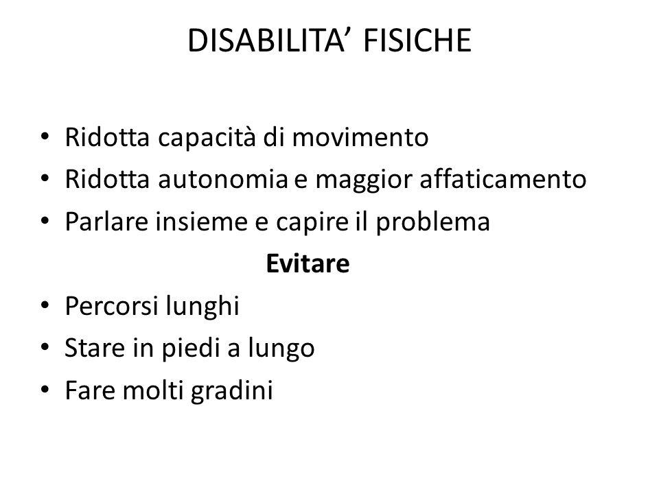 DISABILITA' FISICHE Ridotta capacità di movimento