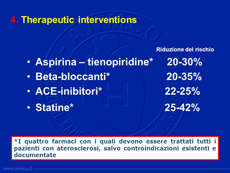 Aspirina – tienopiridine* 20-30% Beta-bloccanti* 20-35%