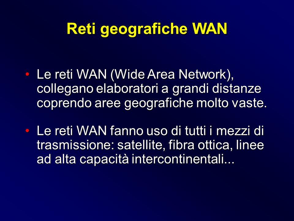 Reti geografiche WAN Le reti WAN (Wide Area Network), collegano elaboratori a grandi distanze coprendo aree geografiche molto vaste.