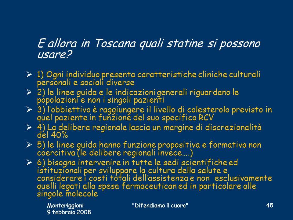 E allora in Toscana quali statine si possono usare