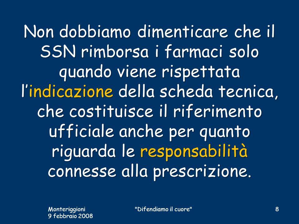 Non dobbiamo dimenticare che il SSN rimborsa i farmaci solo quando viene rispettata l'indicazione della scheda tecnica, che costituisce il riferimento ufficiale anche per quanto riguarda le responsabilità connesse alla prescrizione.