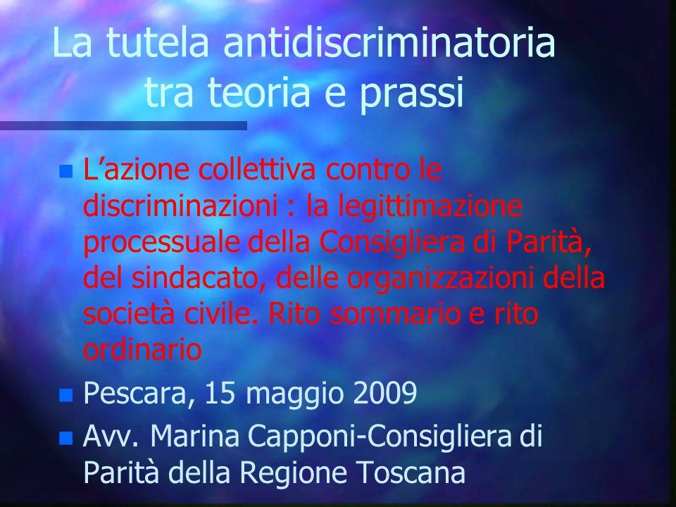 La tutela antidiscriminatoria tra teoria e prassi