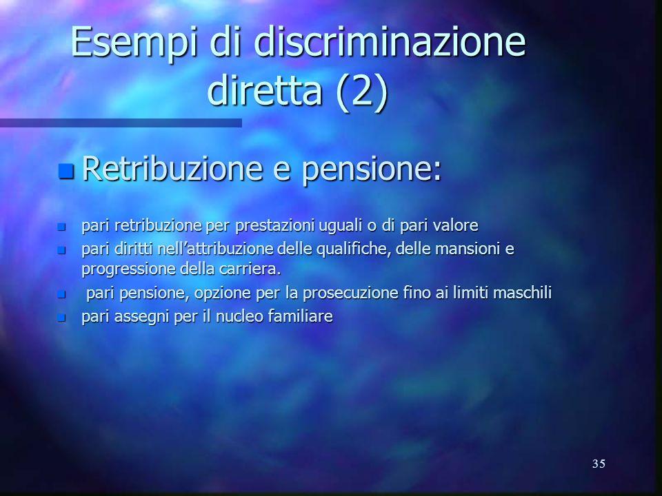 Esempi di discriminazione diretta (2)