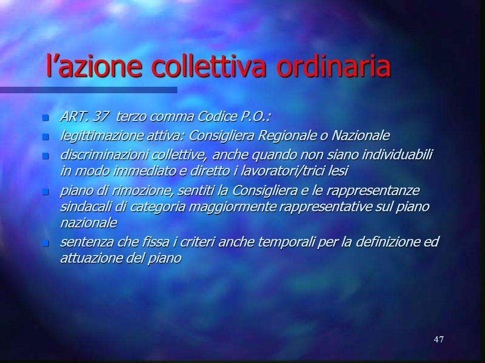 l'azione collettiva ordinaria