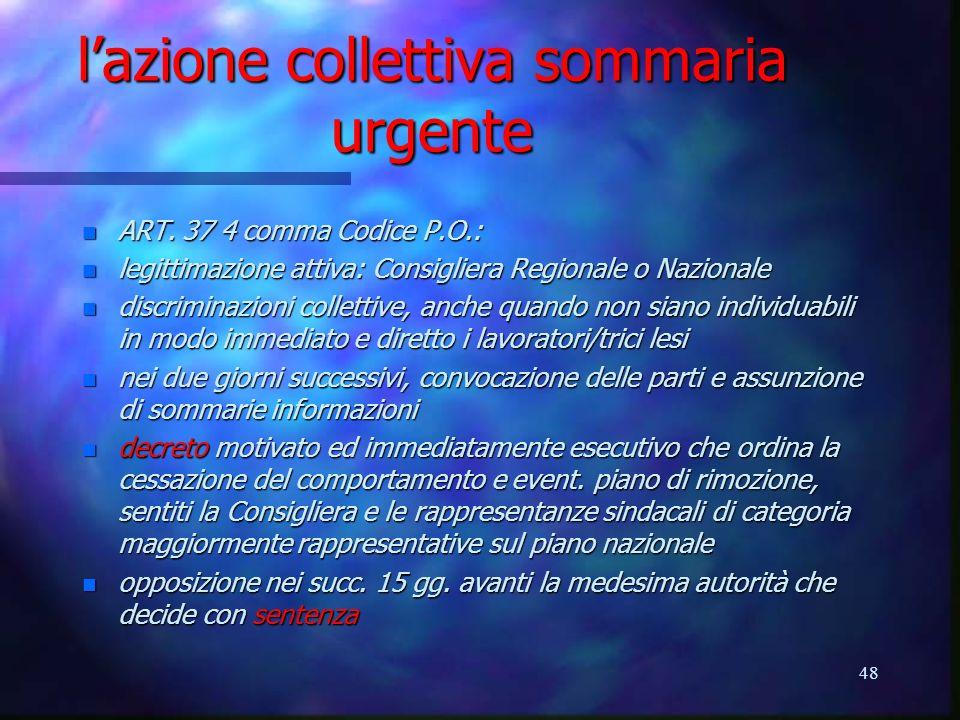 l'azione collettiva sommaria urgente