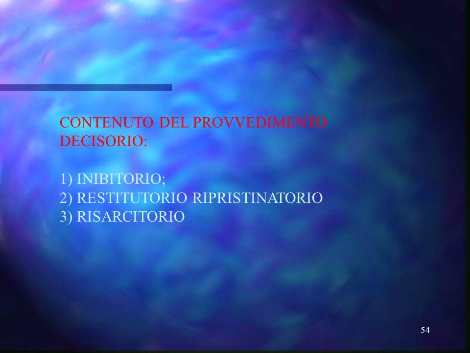 CONTENUTO DEL PROVVEDIMENTO DECISORIO: