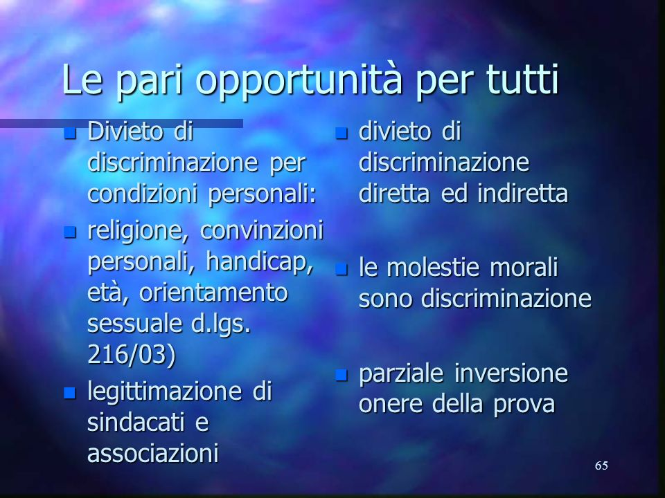 Le pari opportunità per tutti