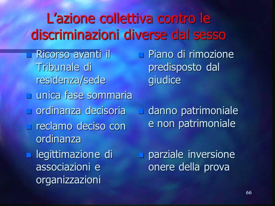 L'azione collettiva contro le discriminazioni diverse dal sesso