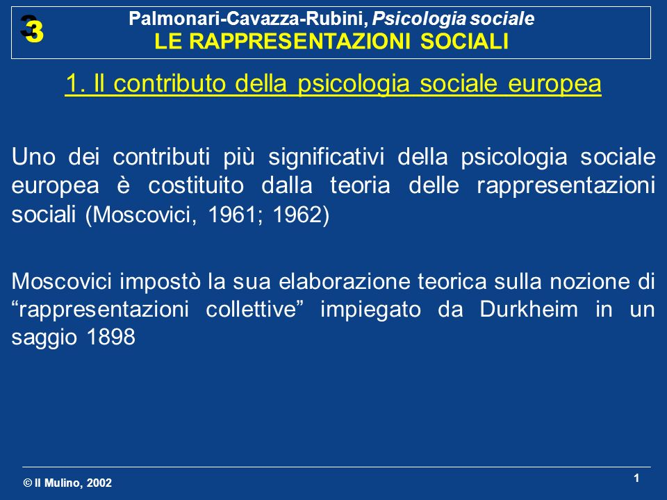 1. Il contributo della psicologia sociale europea