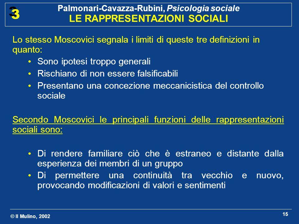Lo stesso Moscovici segnala i limiti di queste tre definizioni in quanto: