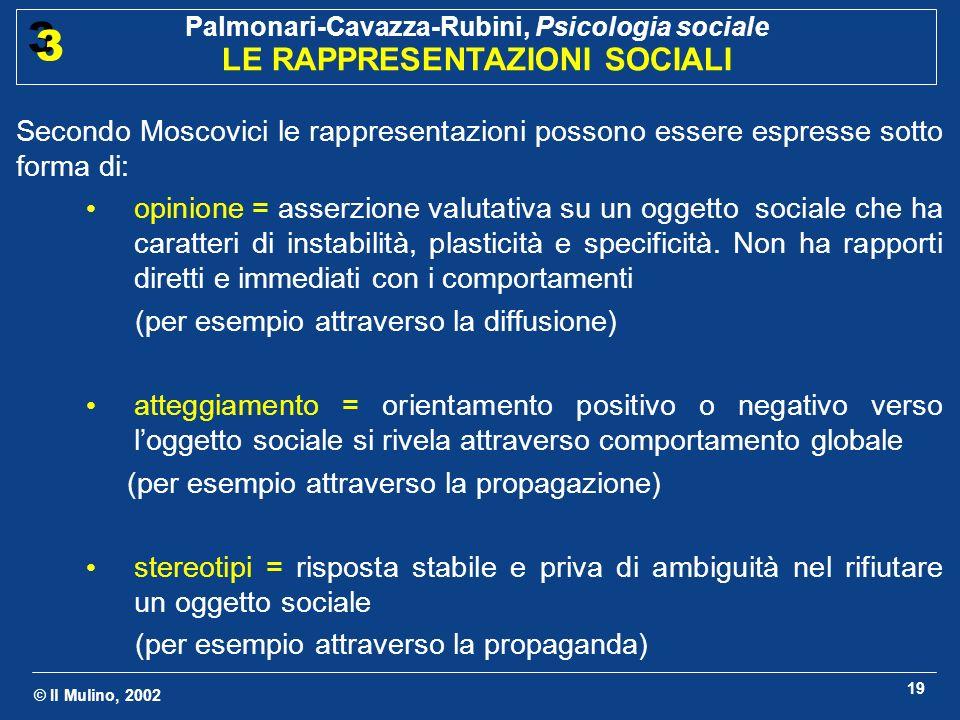 Secondo Moscovici le rappresentazioni possono essere espresse sotto forma di: