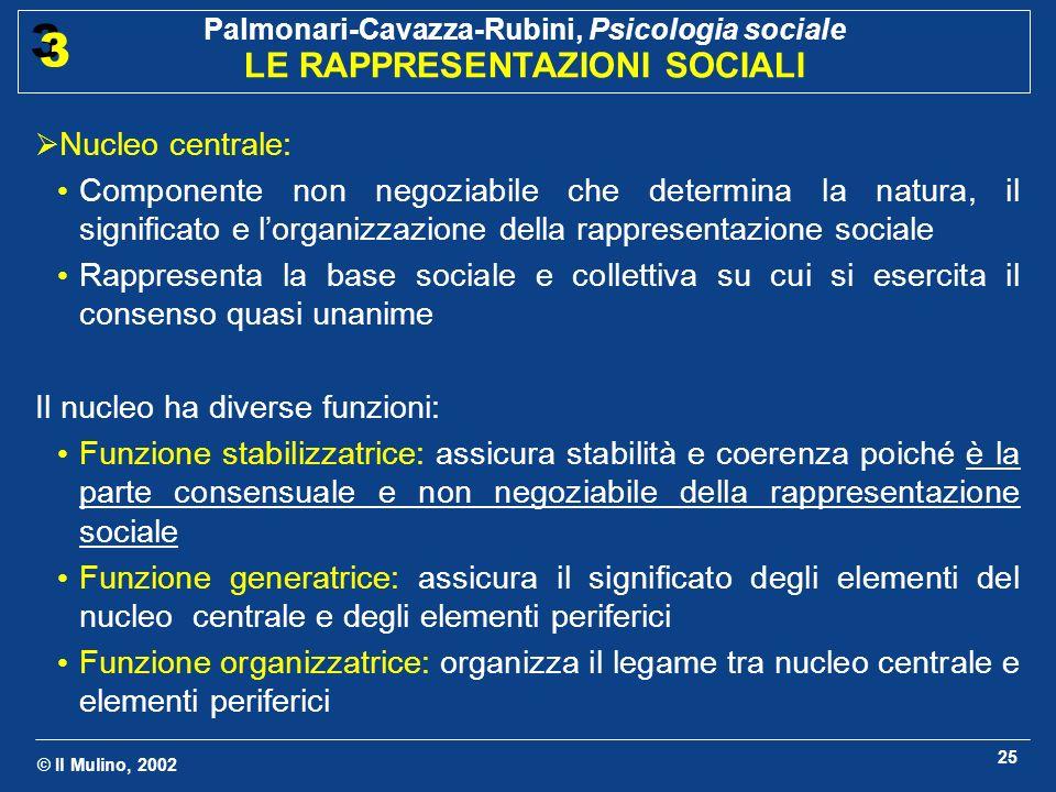 Nucleo centrale:Componente non negoziabile che determina la natura, il significato e l'organizzazione della rappresentazione sociale.