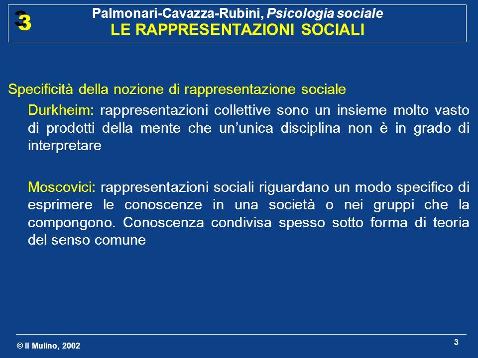 Specificità della nozione di rappresentazione sociale