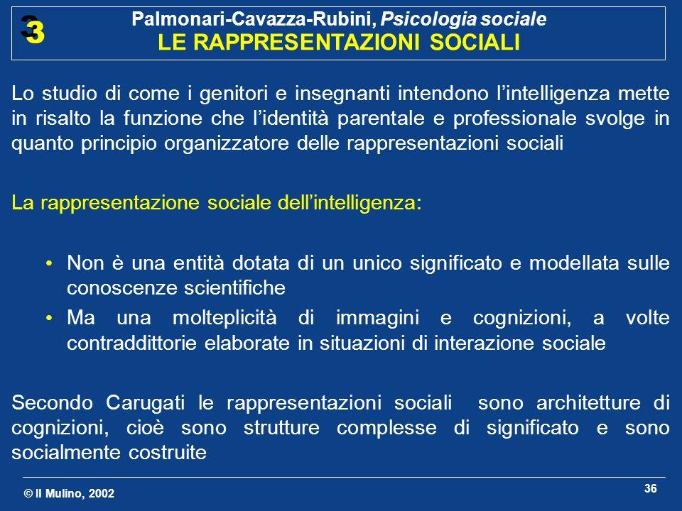 Lo studio di come i genitori e insegnanti intendono l'intelligenza mette in risalto la funzione che l'identità parentale e professionale svolge in quanto principio organizzatore delle rappresentazioni sociali