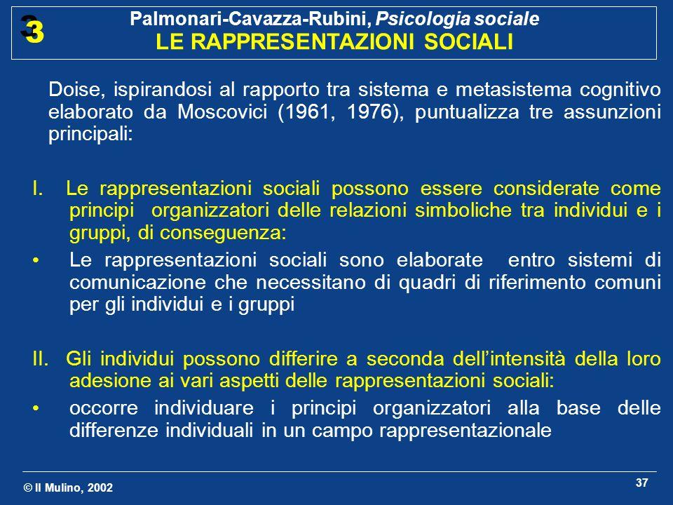 Doise, ispirandosi al rapporto tra sistema e metasistema cognitivo elaborato da Moscovici (1961, 1976), puntualizza tre assunzioni principali: