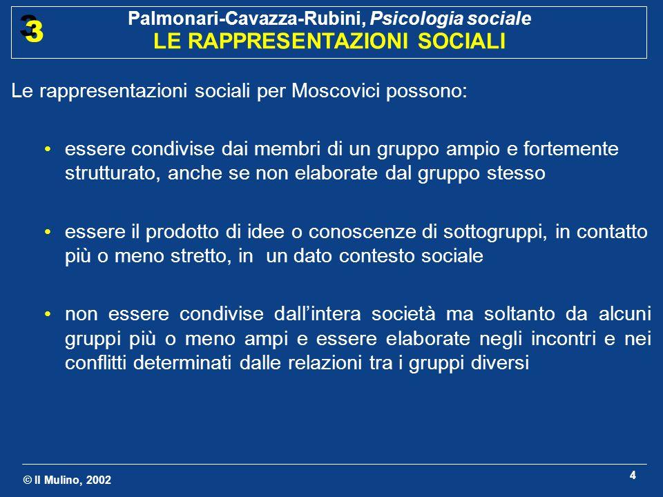 Le rappresentazioni sociali per Moscovici possono: