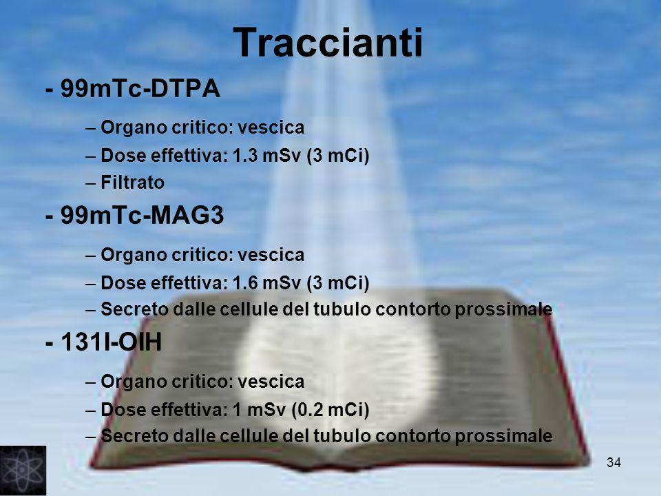Traccianti - 99mTc-DTPA – Organo critico: vescica - 99mTc-MAG3