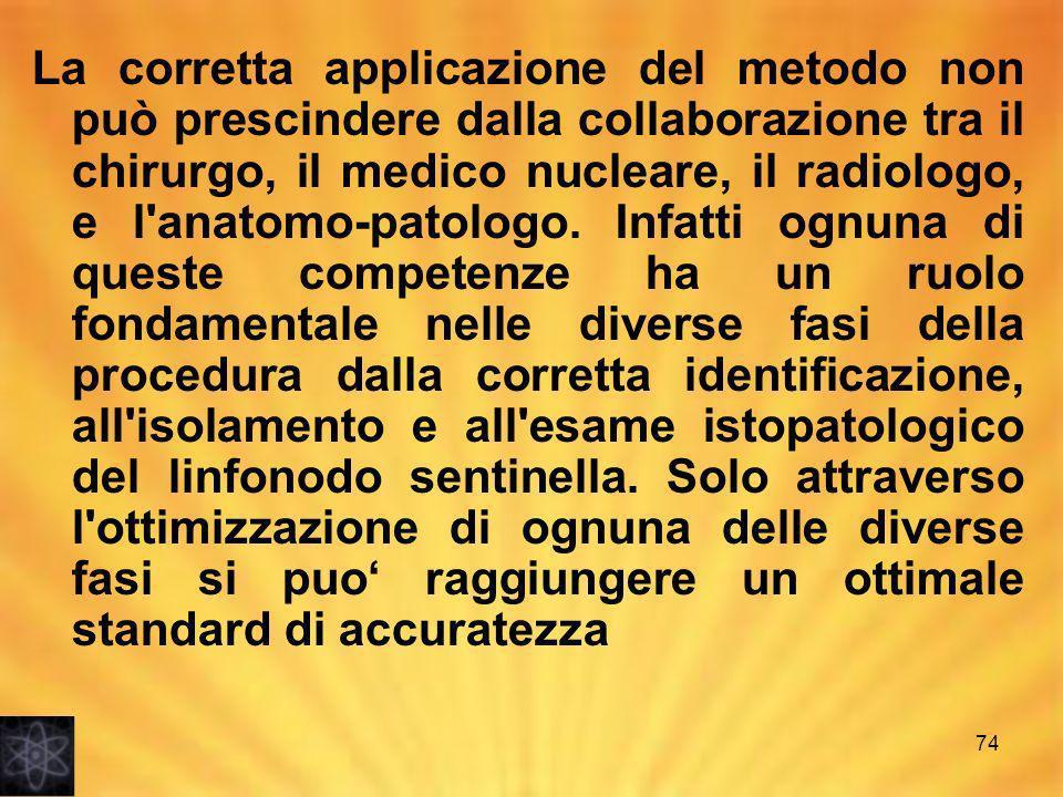 La corretta applicazione del metodo non può prescindere dalla collaborazione tra il chirurgo, il medico nucleare, il radiologo, e l anatomo-patologo.