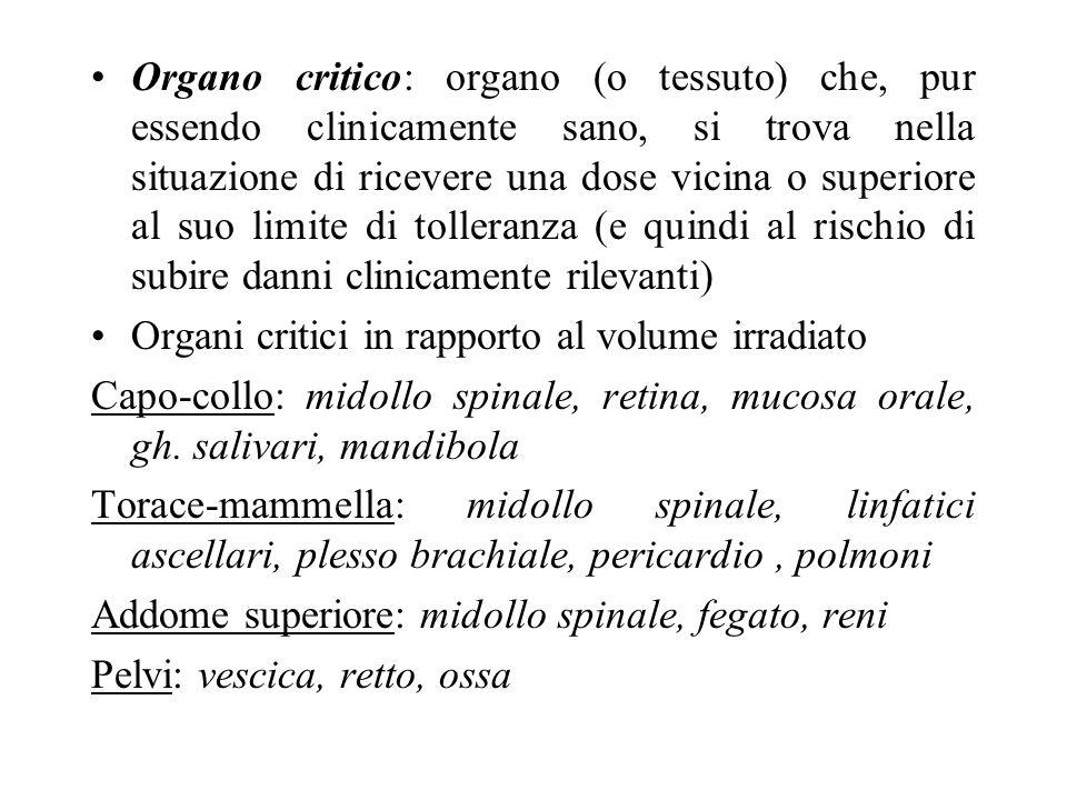 Organo critico: organo (o tessuto) che, pur essendo clinicamente sano, si trova nella situazione di ricevere una dose vicina o superiore al suo limite di tolleranza (e quindi al rischio di subire danni clinicamente rilevanti)