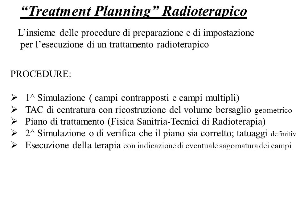 Treatment Planning Radioterapico