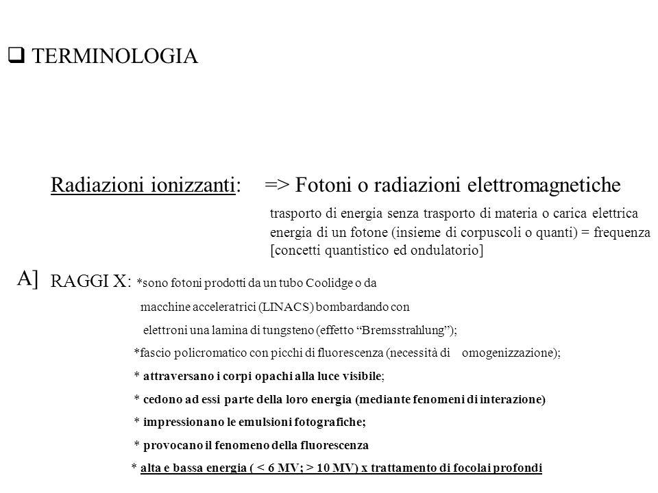 Radiazioni ionizzanti: => Fotoni o radiazioni elettromagnetiche