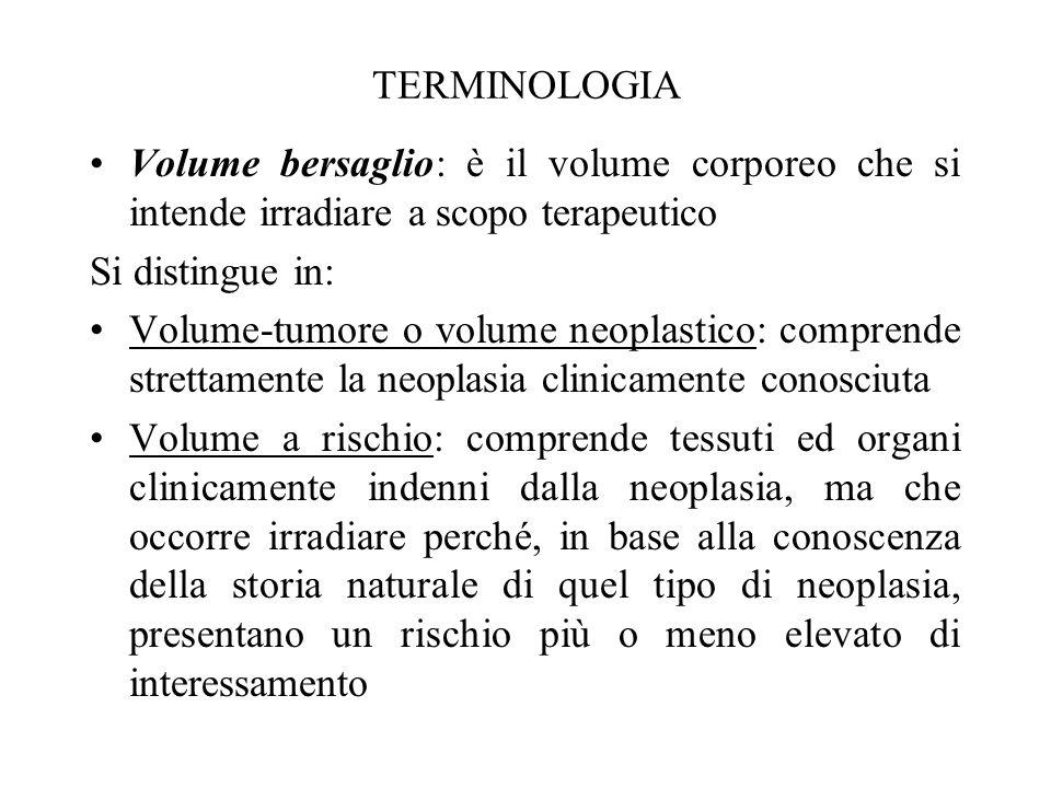 TERMINOLOGIA Volume bersaglio: è il volume corporeo che si intende irradiare a scopo terapeutico. Si distingue in: