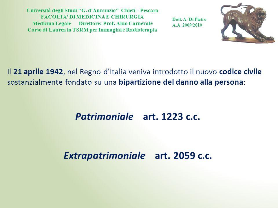 Patrimoniale art. 1223 c.c. Extrapatrimoniale art. 2059 c.c.