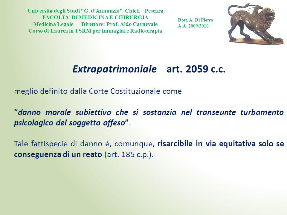 Extrapatrimoniale art. 2059 c.c.