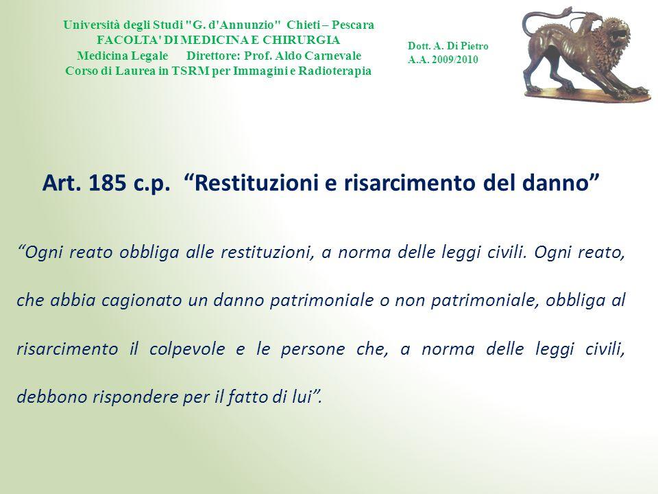 Art. 185 c.p. Restituzioni e risarcimento del danno