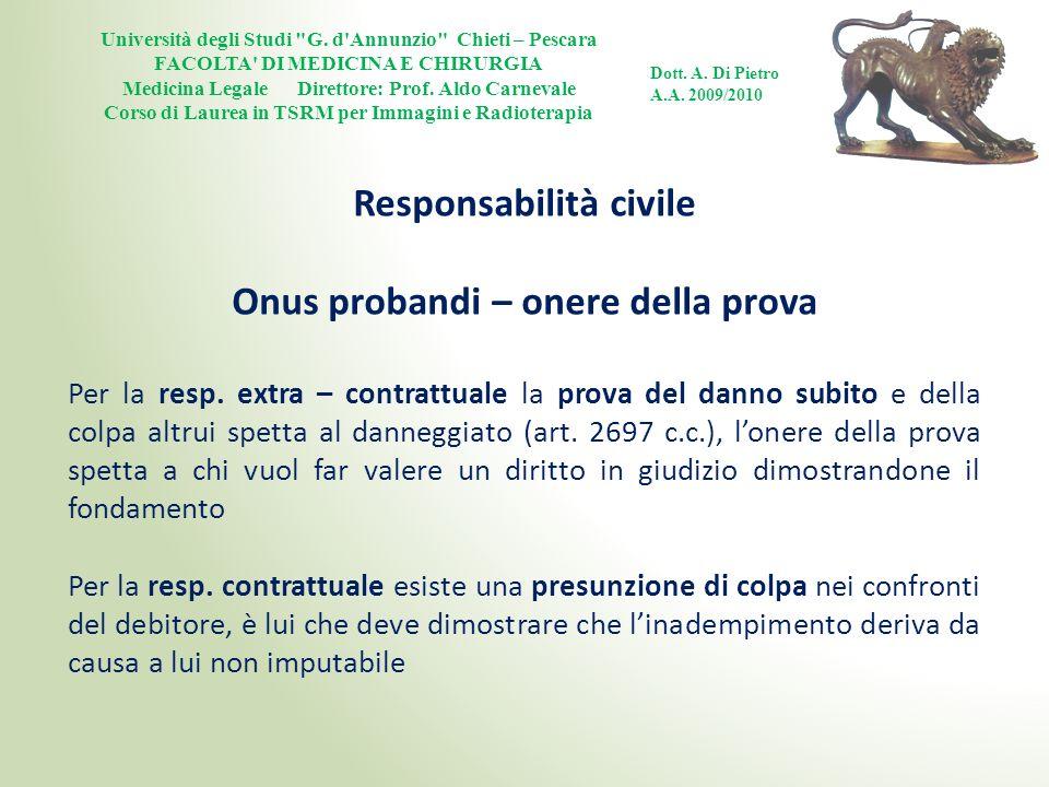 Responsabilità civile Onus probandi – onere della prova