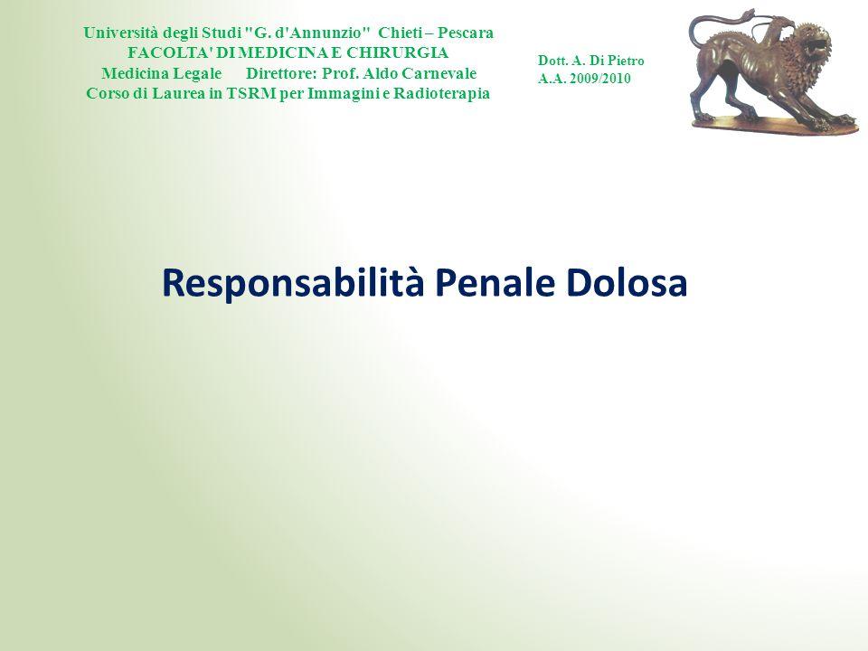 Responsabilità Penale Dolosa