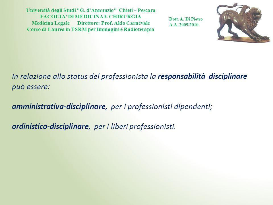 amministrativa-disciplinare, per i professionisti dipendenti;