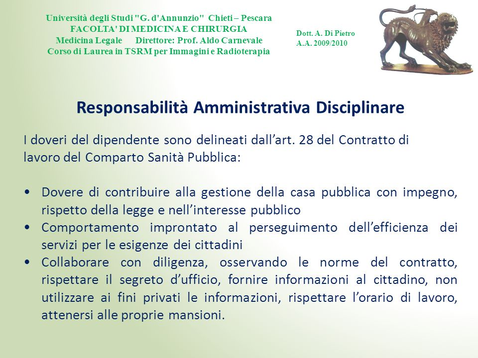 Responsabilità Amministrativa Disciplinare
