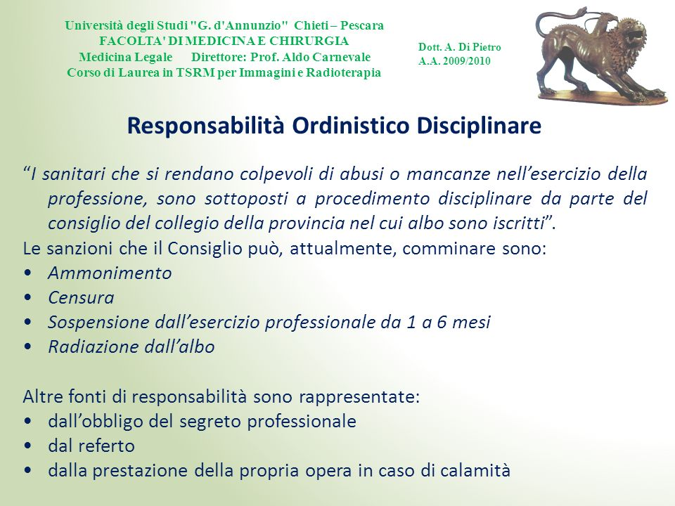 Responsabilità Ordinistico Disciplinare