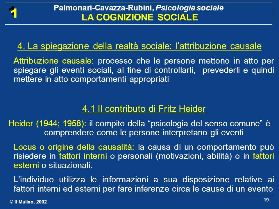 4. La spiegazione della realtà sociale: l'attribuzione causale
