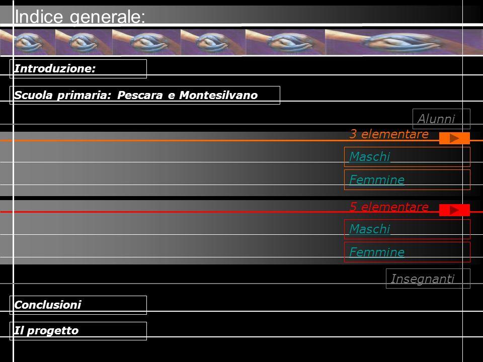Indice generale: Alunni 3 elementare Maschi Femmine 5 elementare
